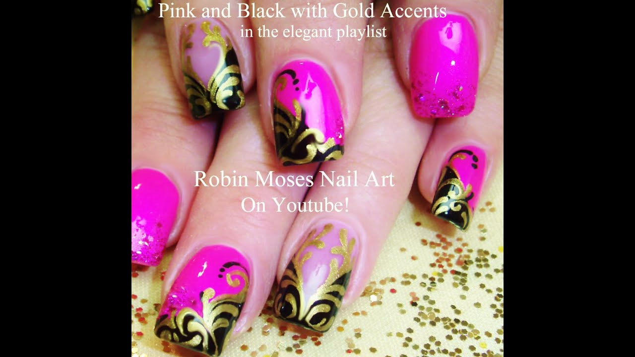 Fun And Formal Nails Pink Black Gold Filigree Nail Art Design Tutorial You