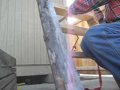 Making Log Ladder Or Stairs For Cabin