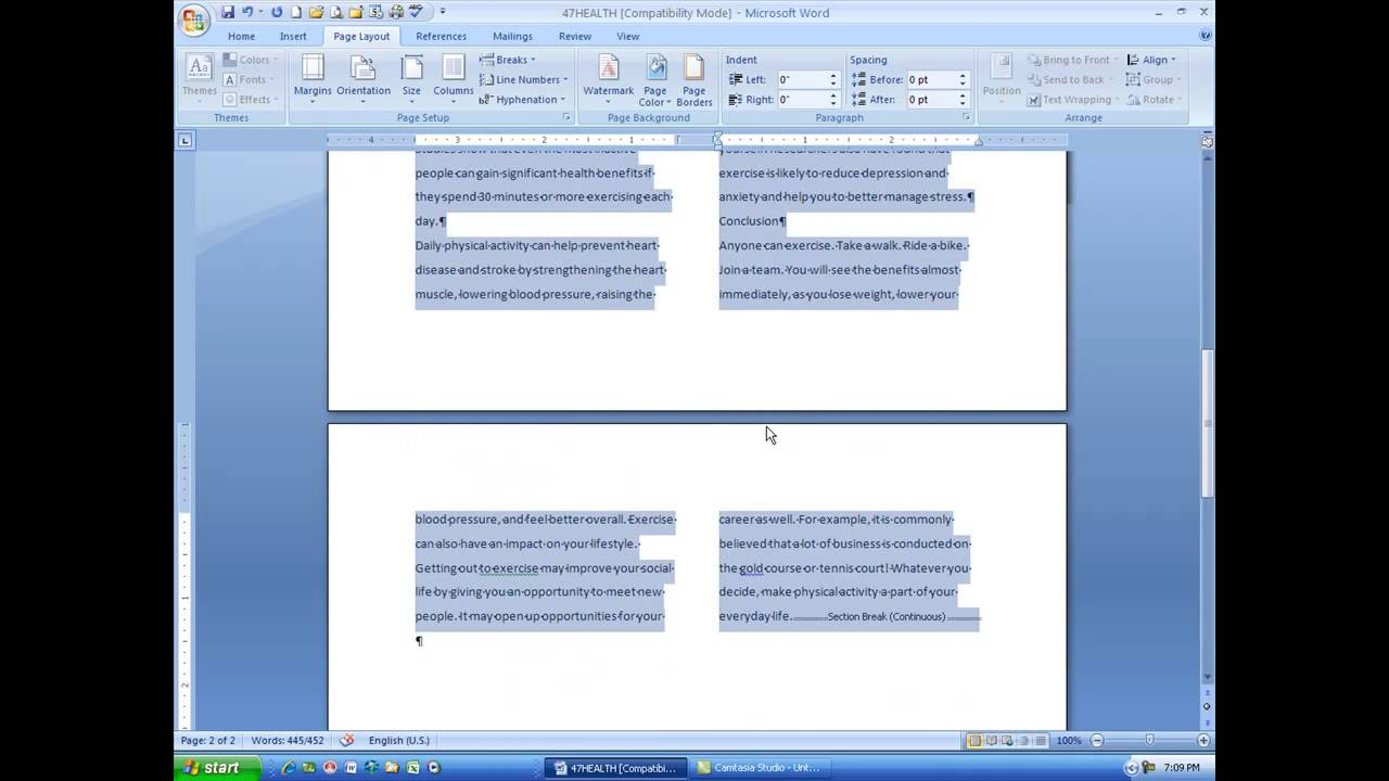 how to make word columns even
