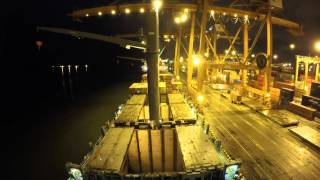 Container ship being loaded/unloaded time-lapse