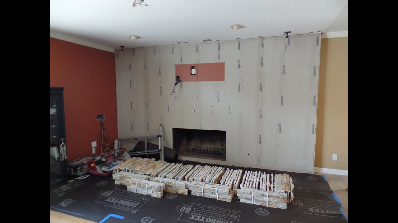 Installing Stone Veneer Panels On Wall With T.V.   YouTube