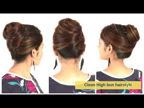 Clean High Bun Hairstyle For Medium/Long Hair