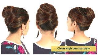 Elegant&Clean High Bun Hairstyle For Medium/Long Hair | Quick&Easy Hair Updo | Komal