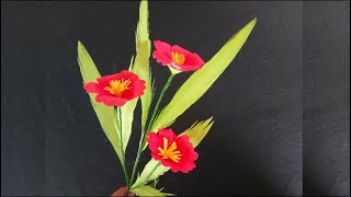 How to make backdrop paper flowers #1 | Making papercraft | Flower stick | Papercraft