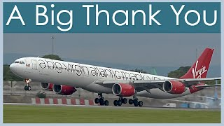 A very big plane with a very big message at Manchester Airport