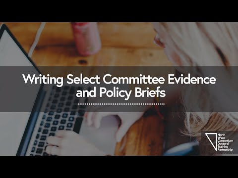 Asking the experts - Writing select committee evidence and policy briefs