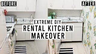 EXTREME DIY RENTAL KITCHEN MAKEOVER! | Peel + Stick Backsplash, Removable Wallpaper, Vinyl Floor
