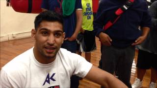 "Amir ""King"" Khan- ""World Class Boxing Gym"" open workout/interview"