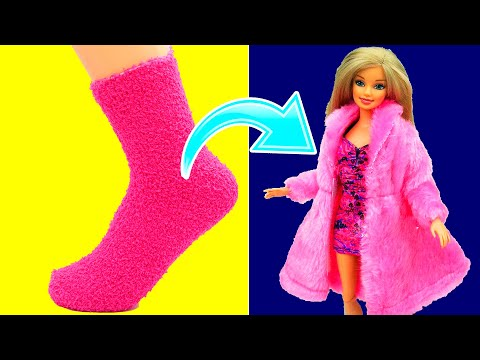 DIY Barbie Dress with Socks   Barbie Doll Clothes Hacks Ideas   Making Easy Crafts Fun for Kids