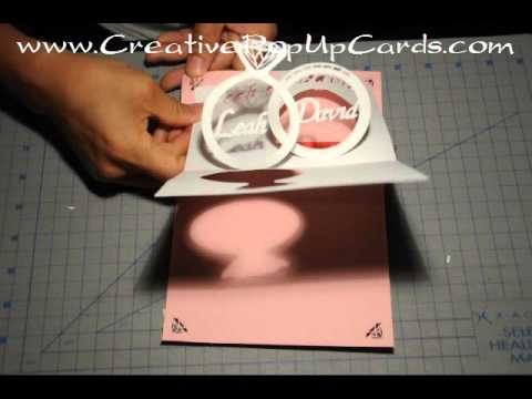 wedding invitation pop up card linked rings tutorial youtube