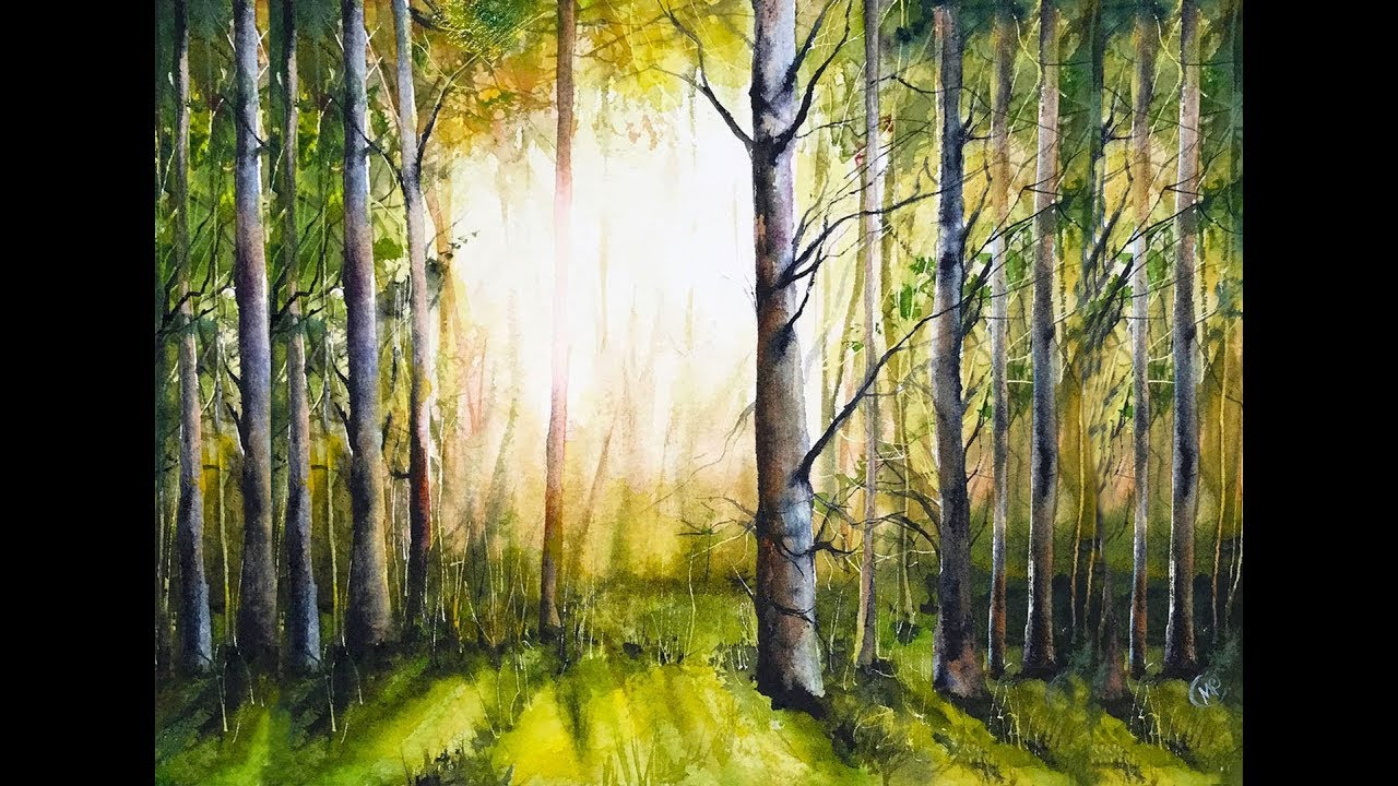 Forest Painting Watercolor Tutorial Youtube