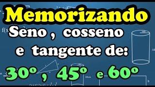 Memorizando seno, cosseno e tangente de 30º, 45º e 60º
