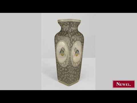 Antique Austrian Sessionist glass square vase with black