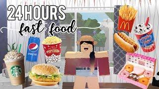 24 HOURS EATING FAST FOOD (bloxburg edition) | Roblox