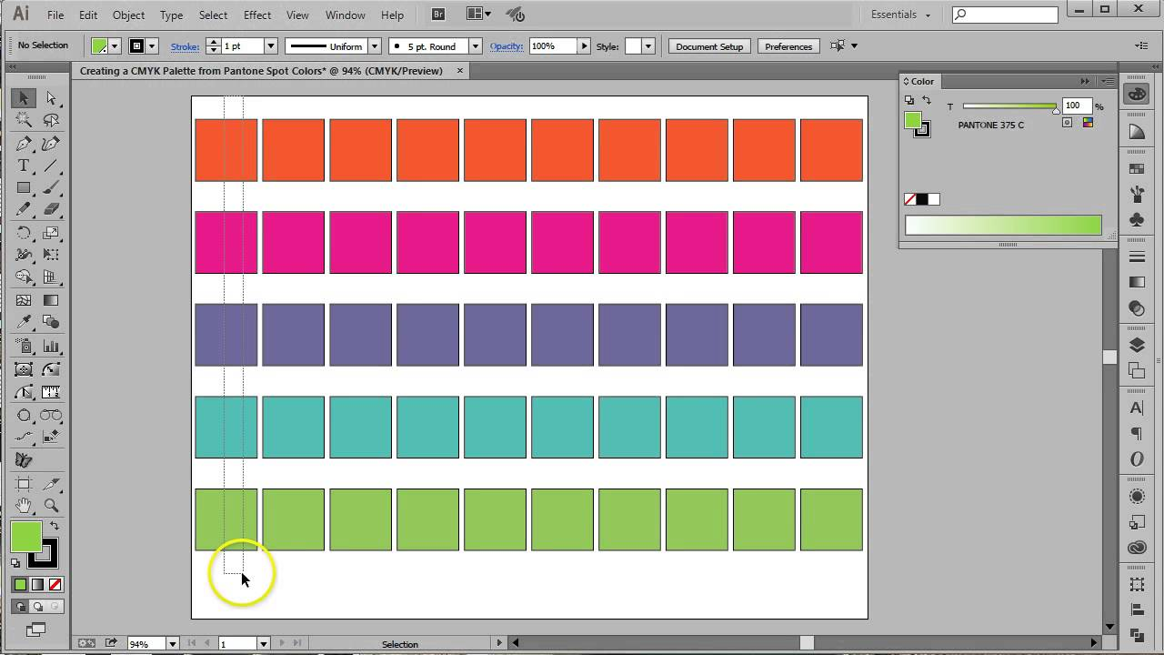 CMYK Palette from Pantone Swatches in Adobe Illustrator