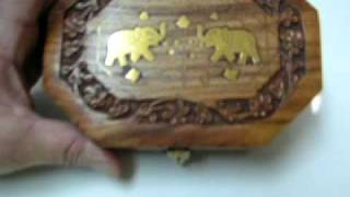 Octagonal Mahogany Wood Jewelry Box Hand Carved