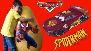 Spiderman Disney Cars Giant Egg Surprise Toys Kiddyzuzaa Compilation
