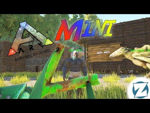 Ark Survival Evolved Mini - Tiny Got Knocked Out by a Slingshot!!! (20 seconds)