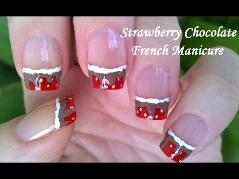 Strawberry Nail Art With Chocolate Easy French Manicure Designs