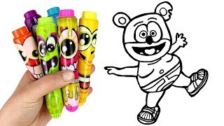 Drawing & Coloring with Surprise Toys Gummy Bear Hamtaro Hamster Mermaid Paw Patrol Everest Toys