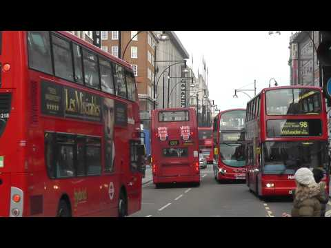London Buses at work in Oxford Street on 11th January 2013