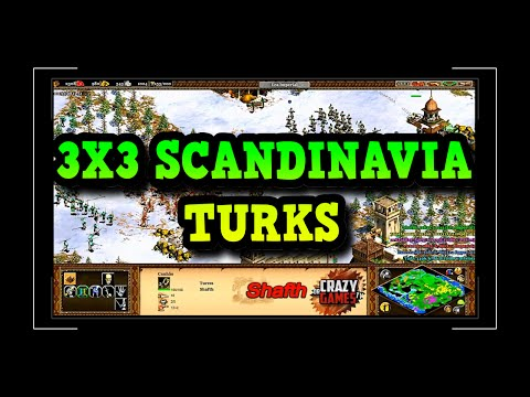 Age of Empires 2 HD 3x3 Scandinavia Turks AoE2HD Gameplay PT