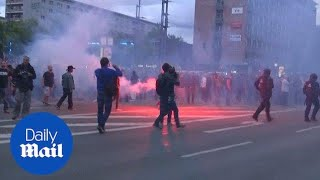 Protests on the streets of Chemnitz following a fatal stabbing