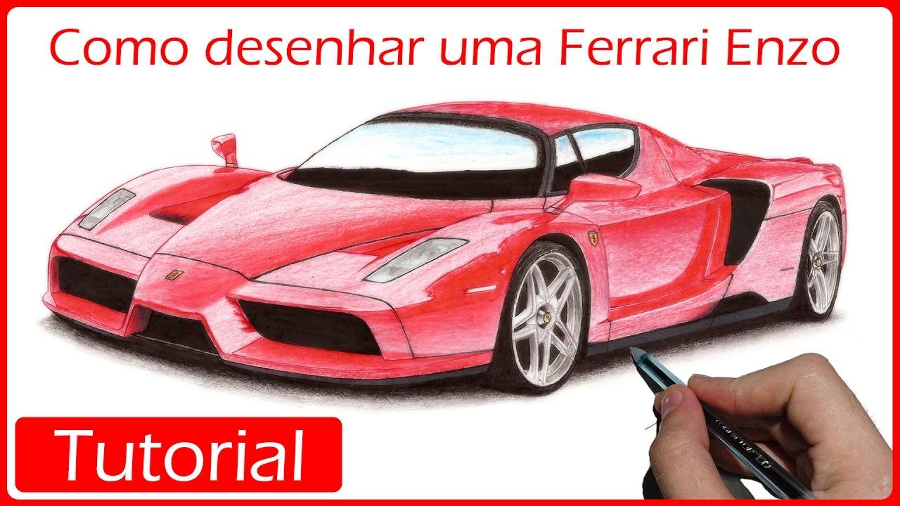 19b8b0fe9d9 COMO DESENHAR CARROS  Ferrari Enzo - YouTube