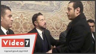 مصطفى شعبان ونبيلة عبيد  وعفاف شعيب وبوسى شلبى يحضرون عزاء محمود أبو زيد