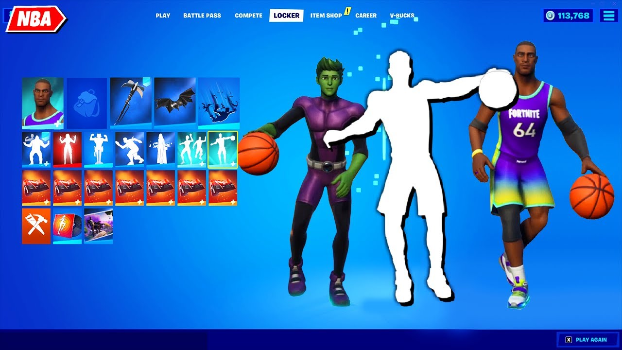 Fortnite NBA Emote (Encrypted) on new NBA & other Skins! It's look Legendary