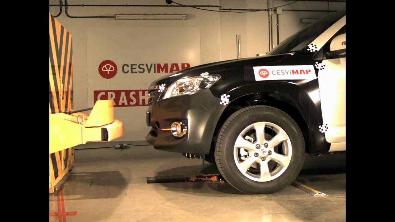 Bumper test delantero Toyota Rav4 en CESVIMAP - YouTube