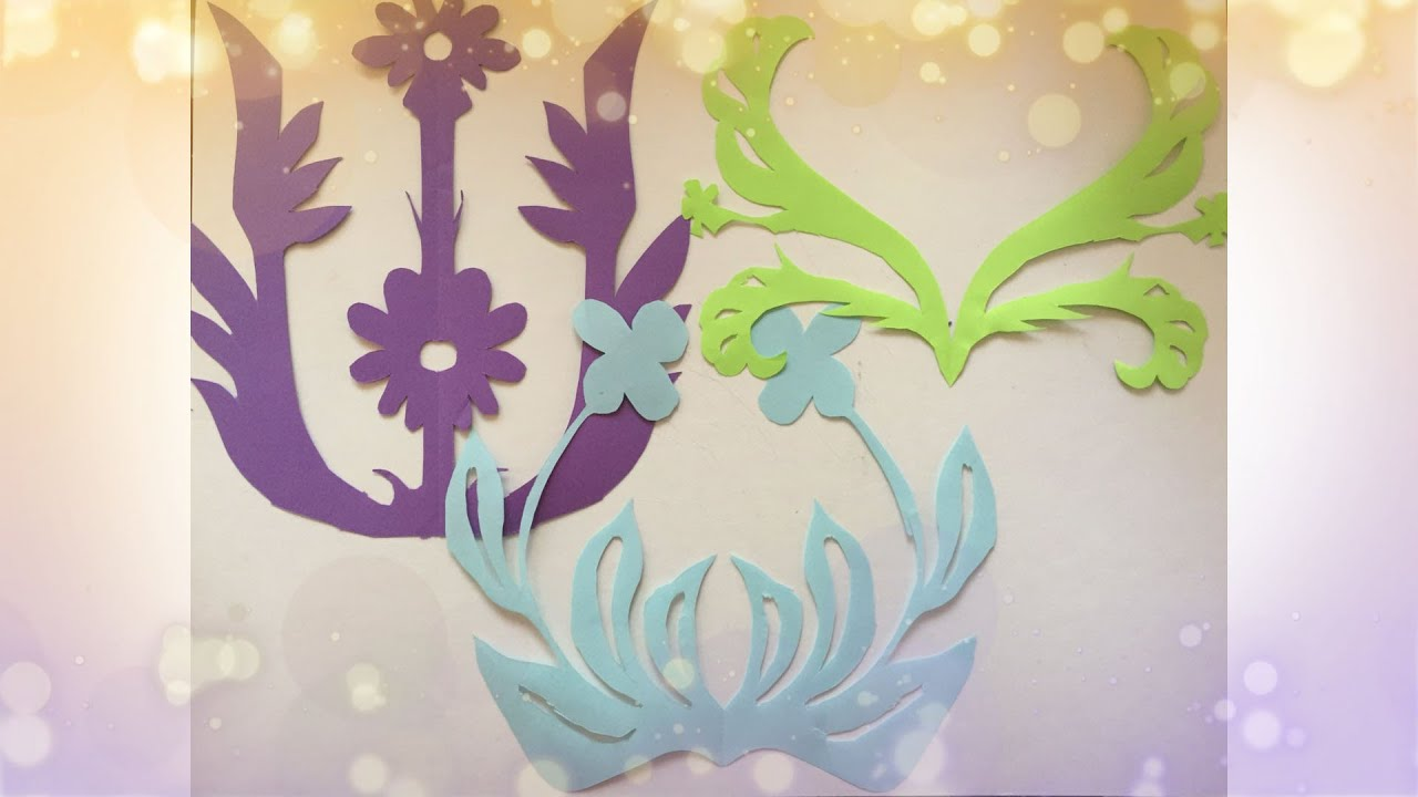 「剪纸教学」对折法剪纸-折花