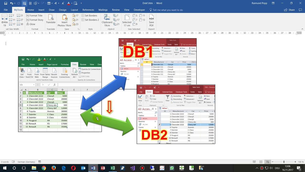 Change Excel OLEdb Connection to Access Database vba