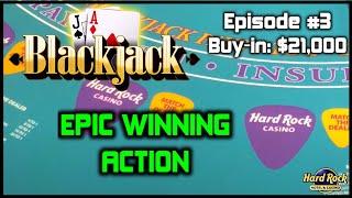 BLACKJACK EPISODE #3 $21K BUY-IN HUGE WINNING SESSION AT HARD ROCK TAMPA $500 - $1000 Per Hand Check Out Live Slot, Slot Machine Bonus, ...