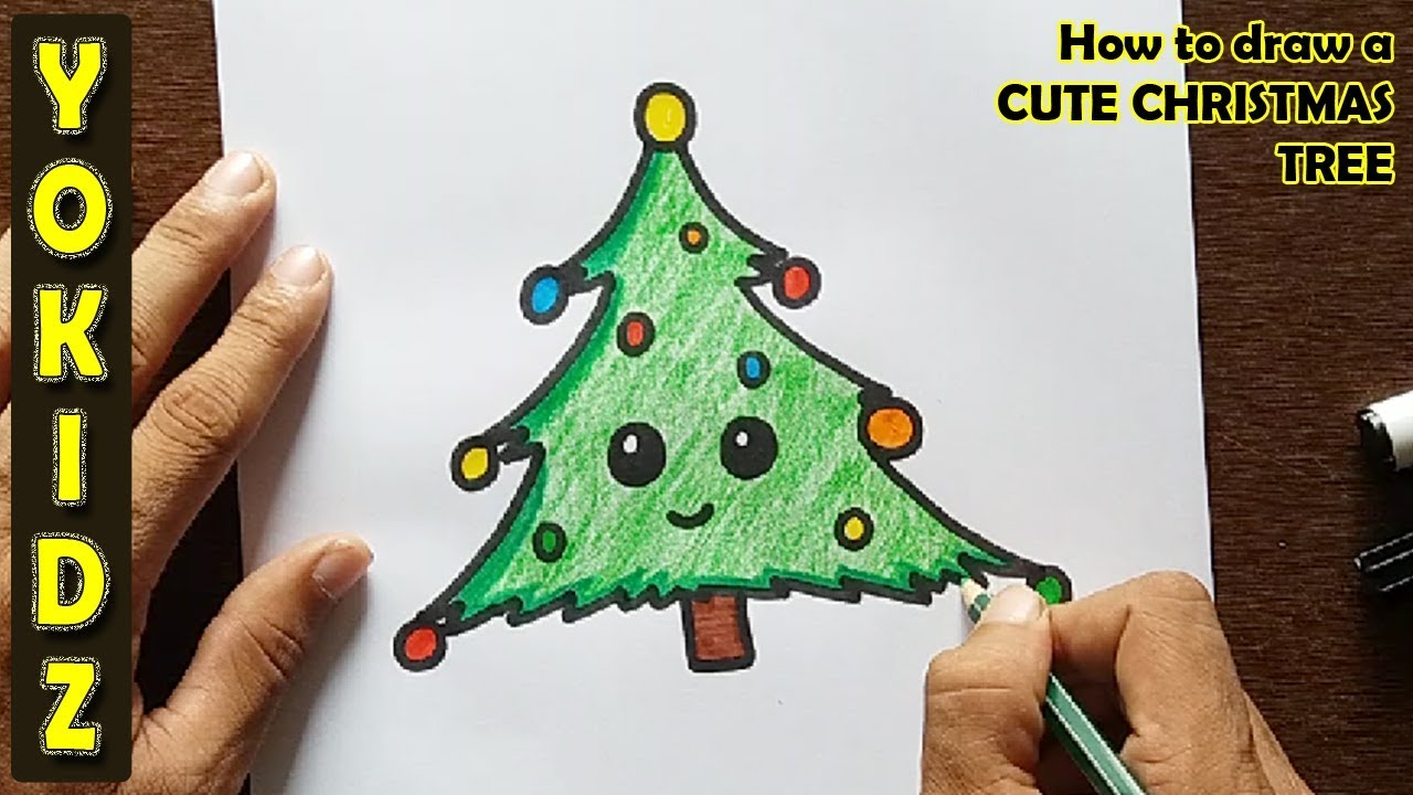 how to draw a cute christmas tree youtube