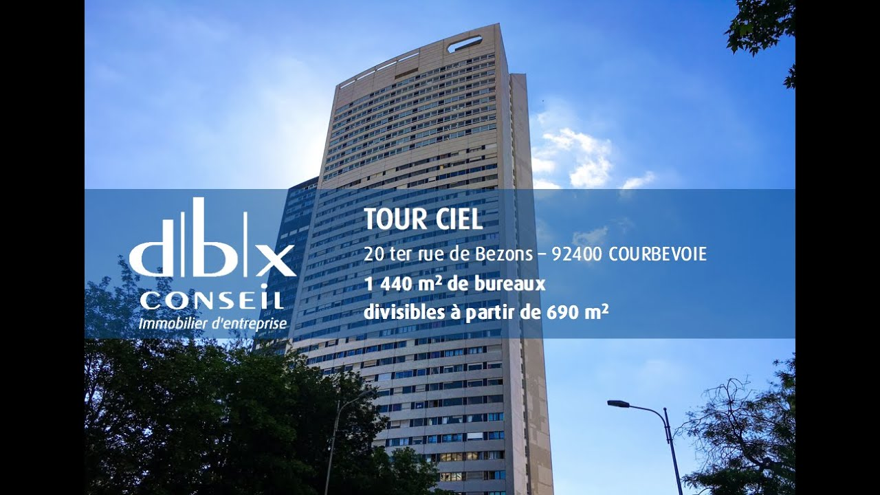 tour ciel courbevoie la d fense location bureaux dbx conseil youtube. Black Bedroom Furniture Sets. Home Design Ideas