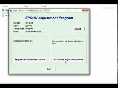 RESET EPSON XP241 XP243 XP245 XP247