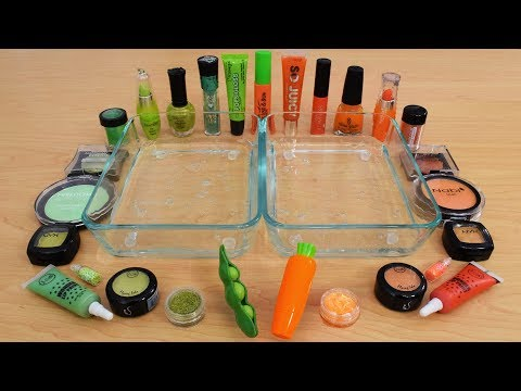 Peas Vs Carrots - Mixing Makeup Eyeshadow Into Slime Special Series 173 Satisfying Slime Video
