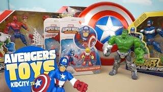 Marvel Avengers Toys Opening with Playskool Spiderman Toys & Superhero Mashers by KidCity