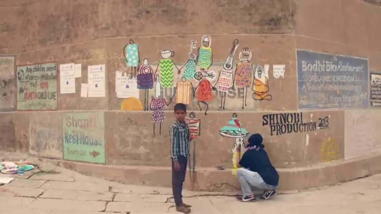 Outdoor Graffiti Murals Wall Paintings From Varanasi