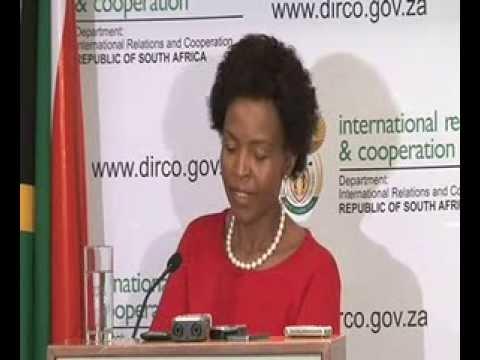 MINISTER MAITE NKOANA MASHABANE BRIEFS MEDIA ON INTERNATIONAL DEVELOPMENTS
