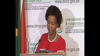 MINISTER MAITE NKOANA MASHABANE BRIEFS MEDIA ON INTERNATIONAL DEVELOPMENTS