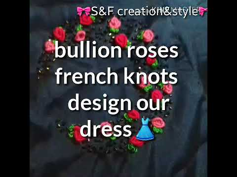 Billion roses hand embroidery french knots and beads work design churidar or gown dress