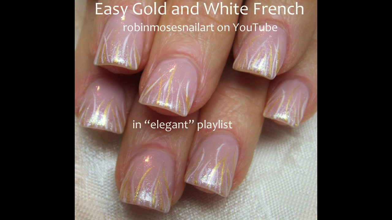 Nail Art Tutorial Easy Striped Nails Gold And White Stripe Nail