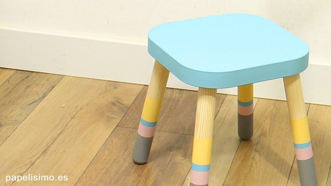 C mo pintar taburete de madera con estilo n rdico youtube for Taburete estilo nordico