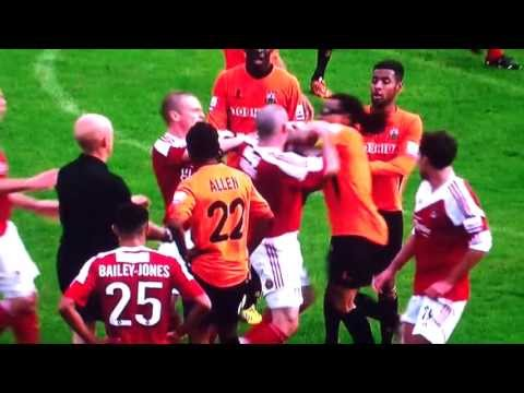Barnet vs Wrexham fight 3 reds edgar david punch