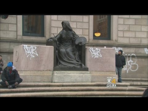 Boston Public Library Vandalized With Graffiti
