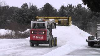 Bobcat S650 Plowing Snow With 10' Snow Wolf Ultra & FastTach