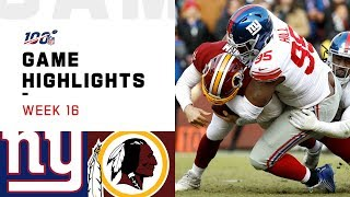 Giants vs. Redskins Week 16 Highlights | NFL 2019
