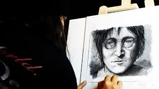John Lennon - Imagine - Guitar Cover and Speed Drawing by The Caribbean Vampire.